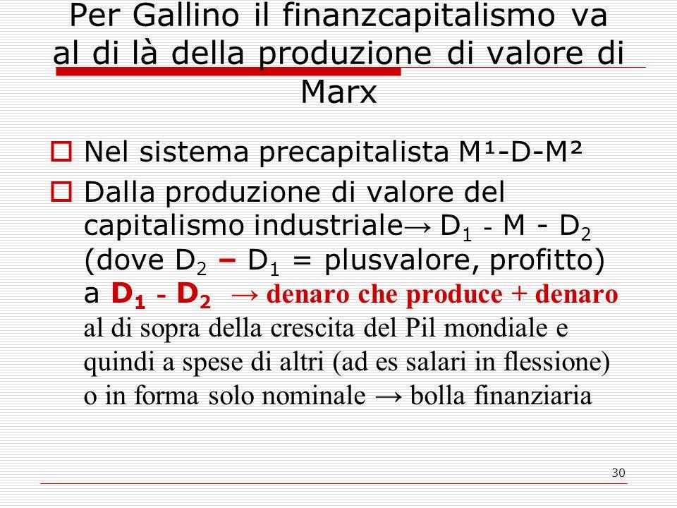 30 Per Gallino il finanzcapitalismo va al di là della produzione di valore di Marx  Nel sistema precapitalista M¹-D-M²  Dalla produzione di valore del capitalismo industriale → D 1 - M - D 2 (dove D 2 – D 1 = plusvalore, profitto) a D 1 - D 2 → denaro che produce + denaro al di sopra della crescita del Pil mondiale e quindi a spese di altri (ad es salari in flessione) o in forma solo nominale → bolla finanziaria