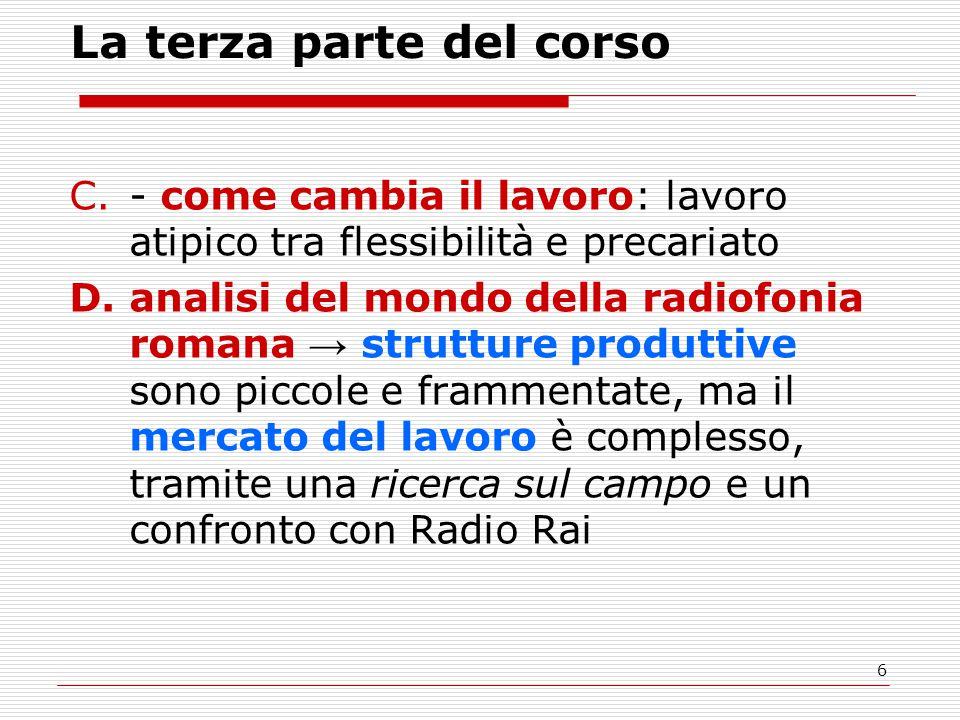 6 La terza parte del corso C.- come cambia il lavoro: lavoro atipico tra flessibilità e precariato D.analisi del mondo della radiofonia romana → strut