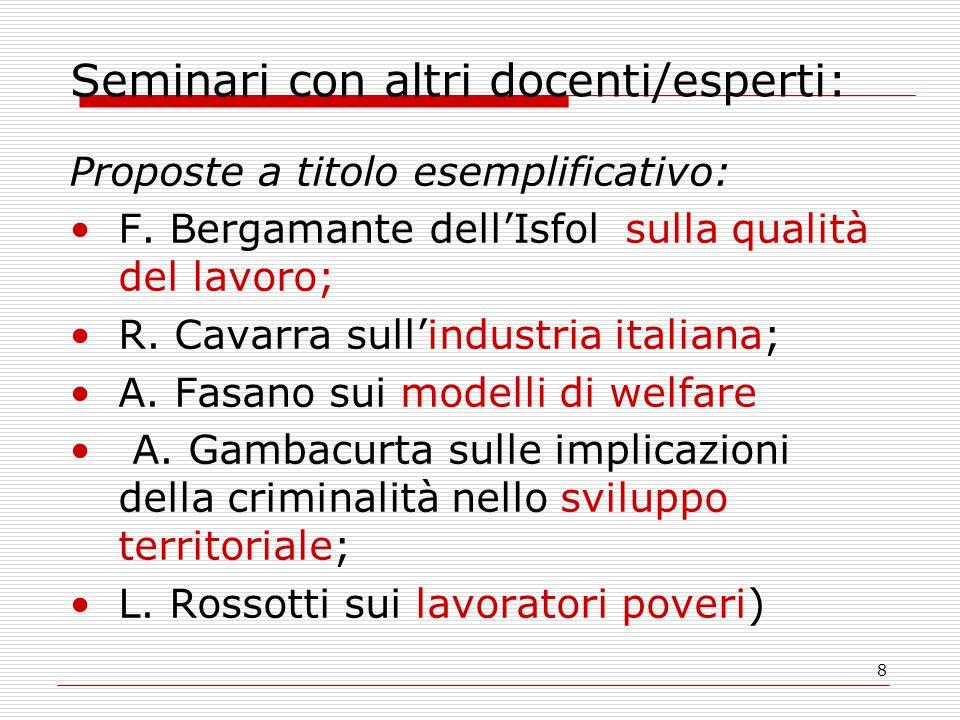 8 Seminari con altri docenti/esperti: Proposte a titolo esemplificativo: F. Bergamante dell'Isfol sulla qualità del lavoro; R. Cavarra sull'industria