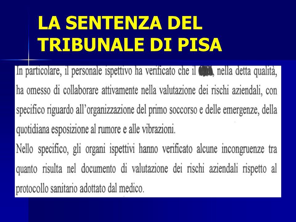 LA SENTENZA DEL TRIBUNALE DI PISA