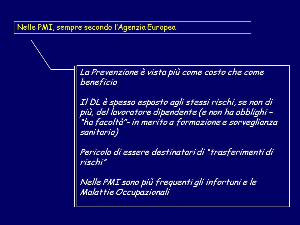 La Prevenzione è vista più come costo che come beneficio Il DL è spesso esposto agli stessi rischi, se non di più, del lavoratore dipendente (e non ha obblighi – ha facoltà - in merito a formazione e sorveglianza sanitaria) Pericolo di essere destinatari di trasferimenti di rischi Nelle PMI sono più frequenti gli infortuni e le Malattie Occupazionali Nelle PMI, sempre secondo l'Agenzia Europea