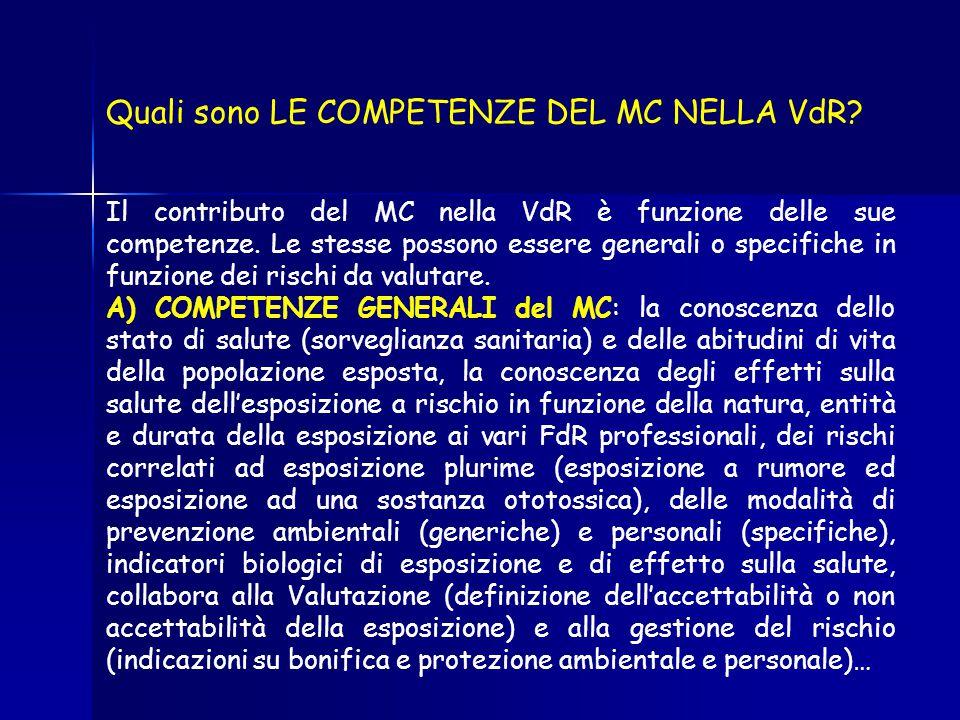Quali sono LE COMPETENZE DEL MC NELLA VdR? Il contributo del MC nella VdR è funzione delle sue competenze. Le stesse possono essere generali o specifi