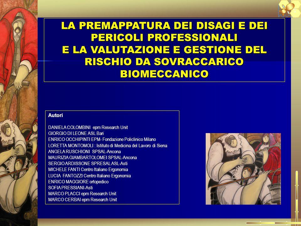 LA PREMAPPATURA DEI DISAGI E DEI PERICOLI PROFESSIONALI E LA VALUTAZIONE E GESTIONE DEL RISCHIO DA SOVRACCARICO BIOMECCANICO A.P. E. Autori DANIELA CO