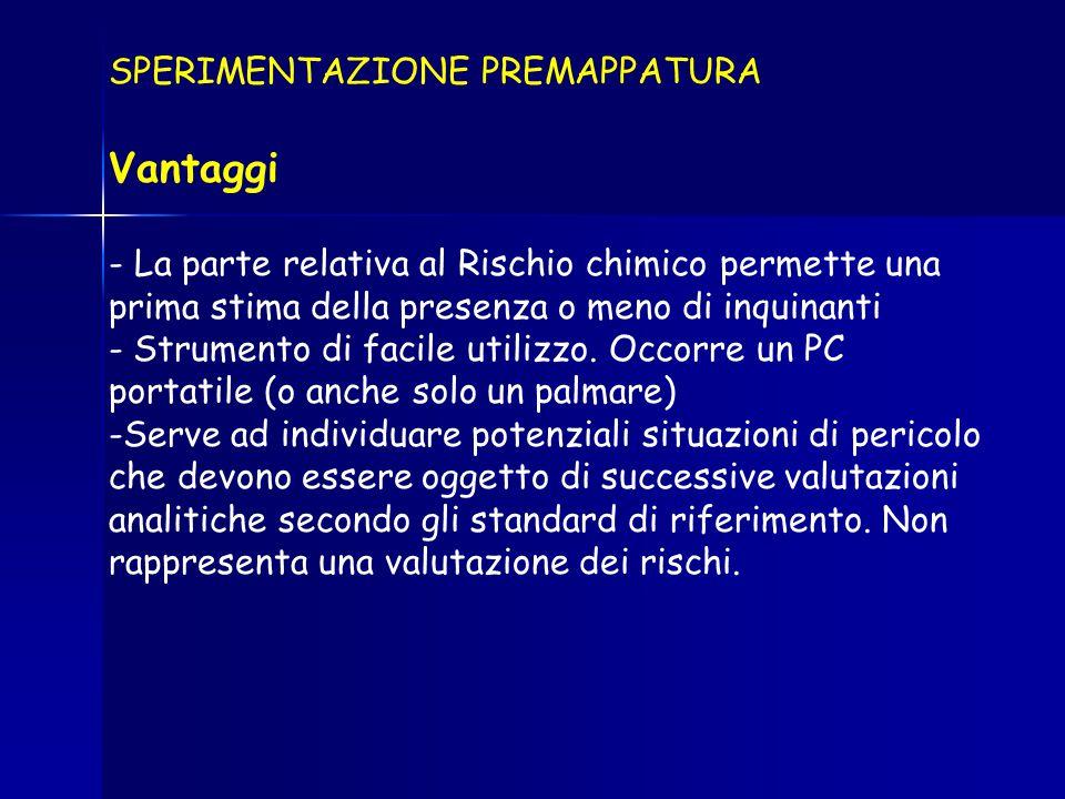 SPERIMENTAZIONE PREMAPPATURA Vantaggi - La parte relativa al Rischio chimico permette una prima stima della presenza o meno di inquinanti - Strumento di facile utilizzo.