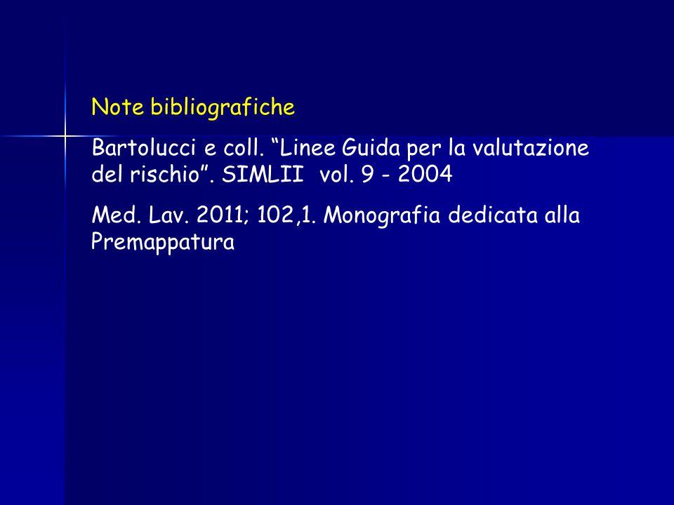 """Note bibliografiche Bartolucci e coll. """"Linee Guida per la valutazione del rischio"""". SIMLII vol. 9 - 2004 Med. Lav. 2011; 102,1. Monografia dedicata a"""
