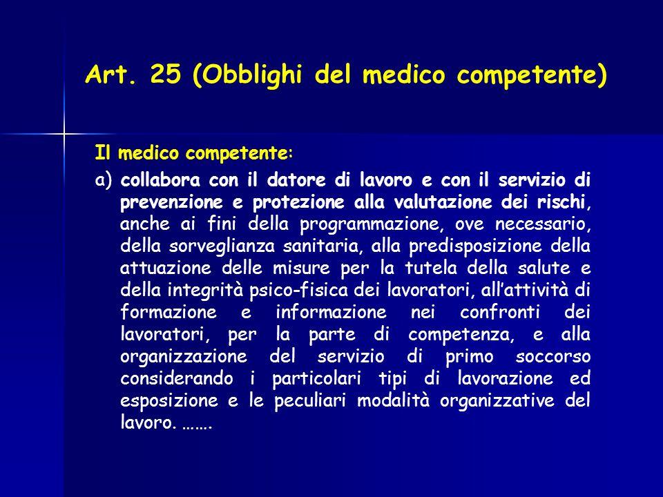 Art. 25 (Obblighi del medico competente) Il medico competente: a) collabora con il datore di lavoro e con il servizio di prevenzione e protezione alla