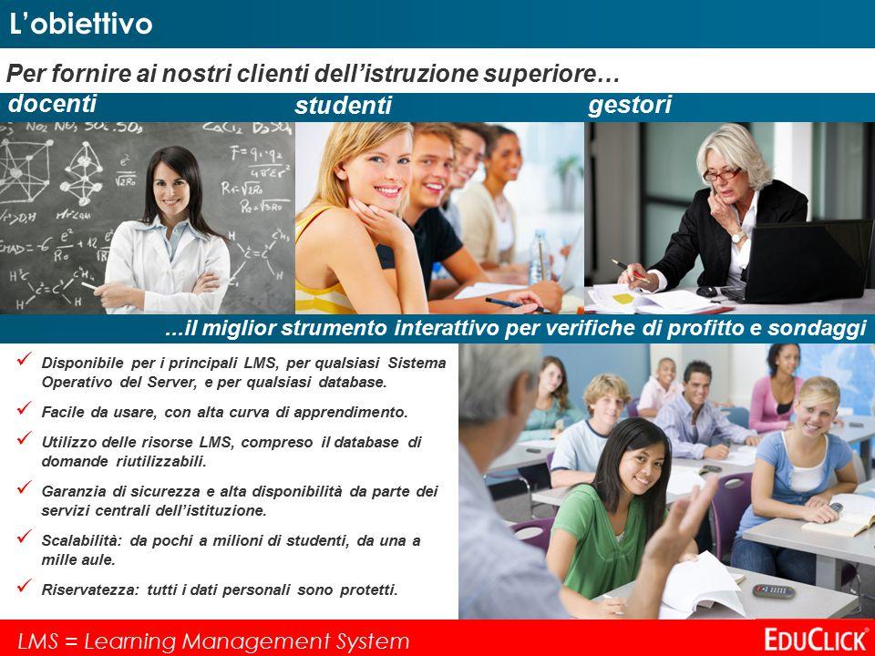 Per fornire ai nostri clienti dell'istruzione superiore… docenti studenti gestori Disponibile per i principali LMS, per qualsiasi Sistema Operativo del Server, e per qualsiasi database.