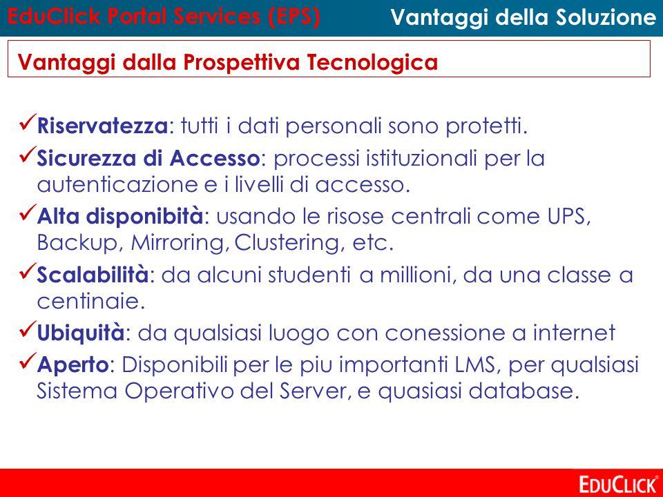 Vantaggi dalla Prospettiva Tecnologica Riservatezza : tutti i dati personali sono protetti.