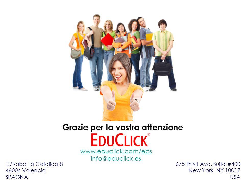 Grazie per la vostra attenzione www.educlick.com/eps info@educlick.es C/Isabel la Catolica 8 46004 Valencia SPAGNA 675 Third Ave.