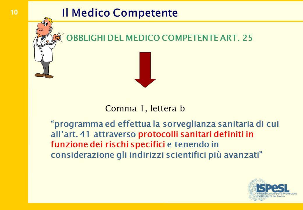 """10 Il Medico Competente OBBLIGHI DEL MEDICO COMPETENTE ART. 25 Comma 1, lettera b """"programma ed effettua la sorveglianza sanitaria di cui all'art. 41"""