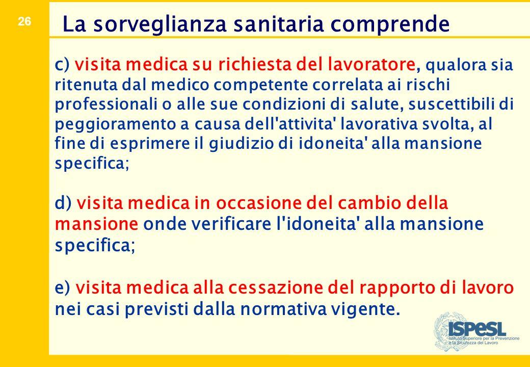 26 c) visita medica su richiesta del lavoratore, qualora sia ritenuta dal medico competente correlata ai rischi professionali o alle sue condizioni di