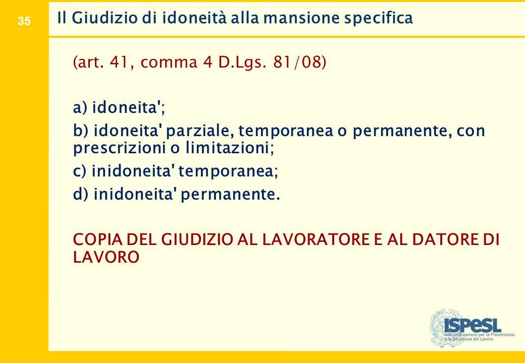35 Il Giudizio di idoneità alla mansione specifica (art. 41, comma 4 D.Lgs. 81/08) a) idoneita'; b) idoneita' parziale, temporanea o permanente, con p