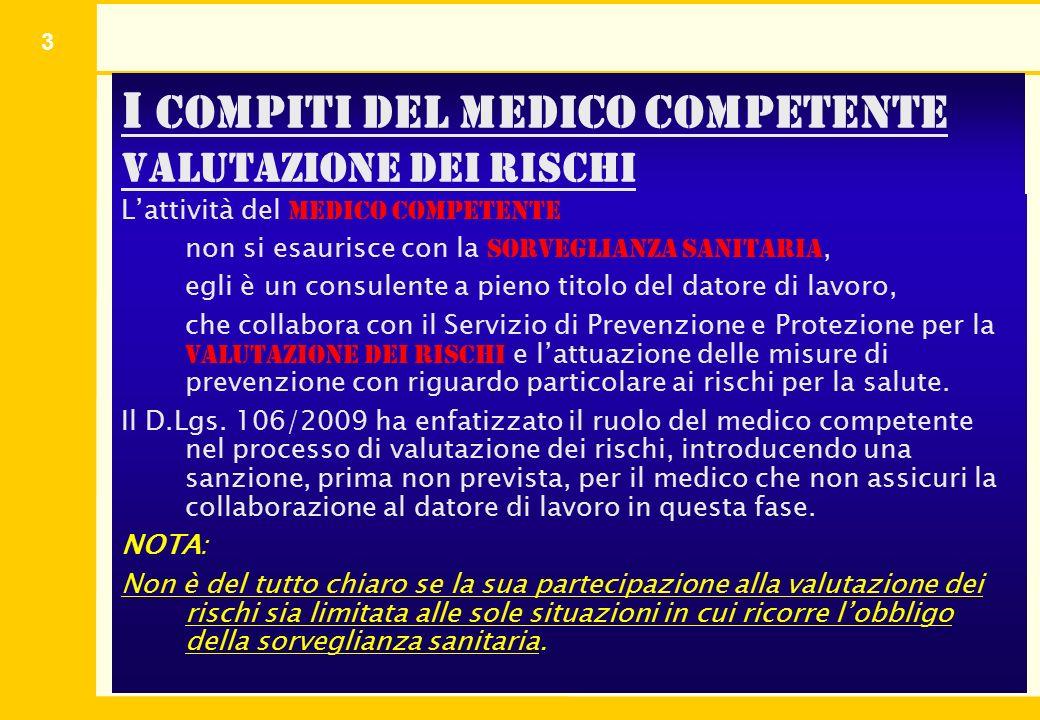 3 I compiti del medico competente valutazione dei rischi L'attività del medico competente non si esaurisce con la sorveglianza sanitaria, egli è un co