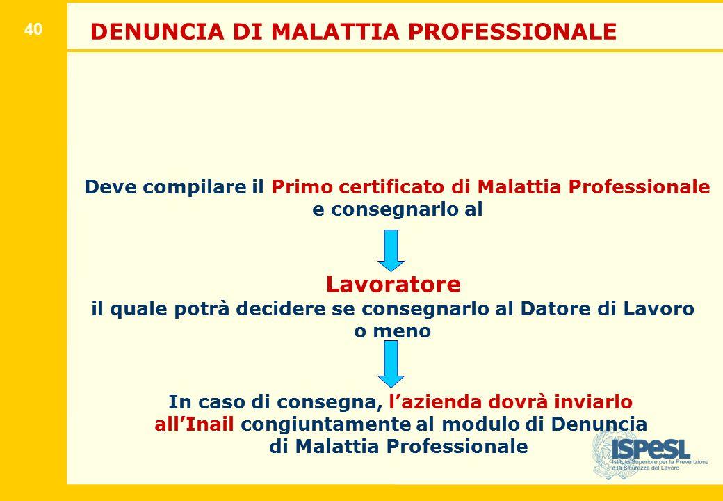 40 DENUNCIA DI MALATTIA PROFESSIONALE Deve compilare il Primo certificato di Malattia Professionale e consegnarlo al Lavoratore il quale potrà decider