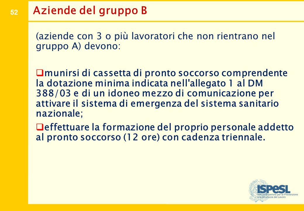 52 Aziende del gruppo B (aziende con 3 o più lavoratori che non rientrano nel gruppo A) devono:  munirsi di cassetta di pronto soccorso comprendente
