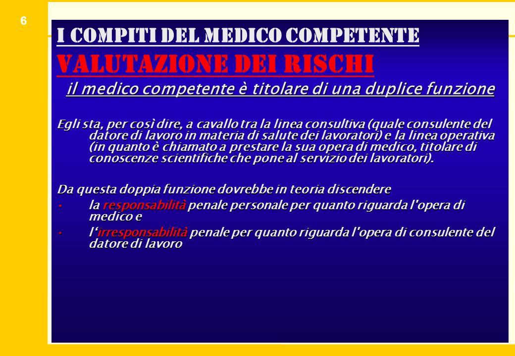 6 I compiti del medico competente valutazione dei rischi il medico competente è titolare di una duplice funzione Egli sta, per così dire, a cavallo tr