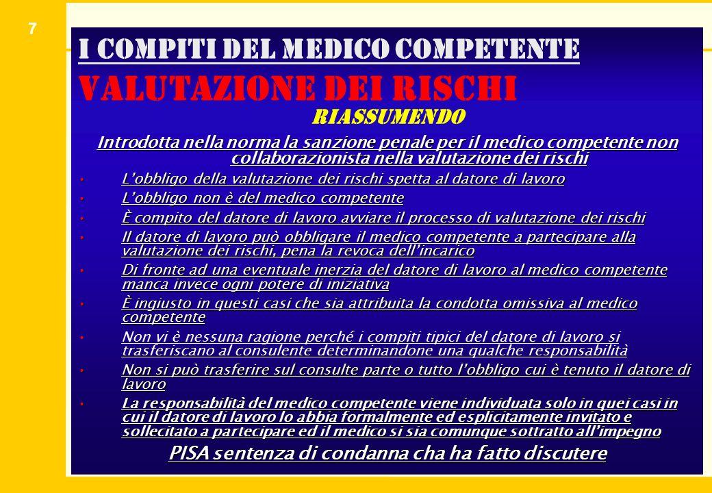 7 I compiti del medico competente valutazione dei rischi Introdotta nella norma la sanzione penale per il medico competente non collaborazionista nell