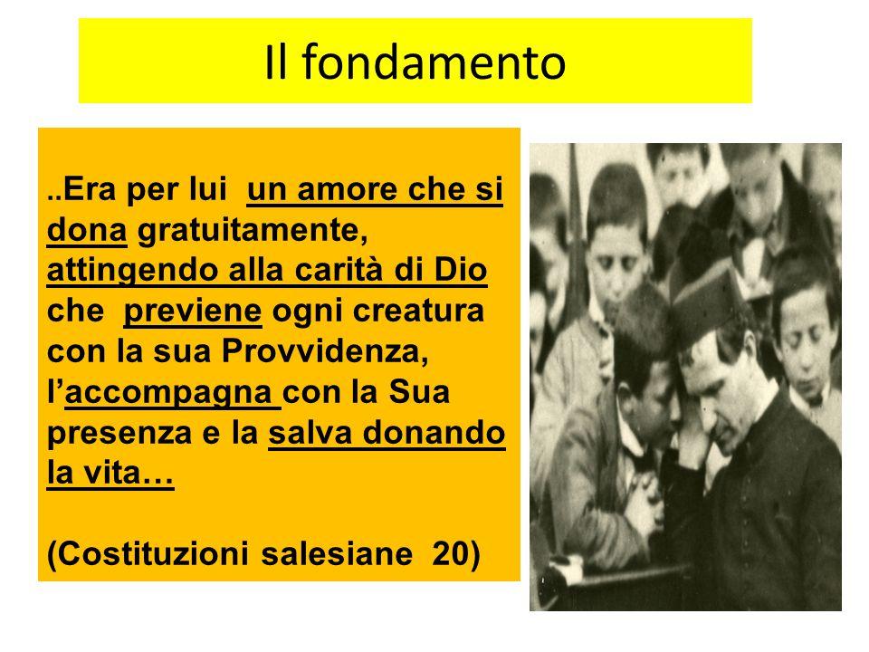 Il fondamento.. Era per lui un amore che si dona gratuitamente, attingendo alla carità di Dio che previene ogni creatura con la sua Provvidenza, l'acc
