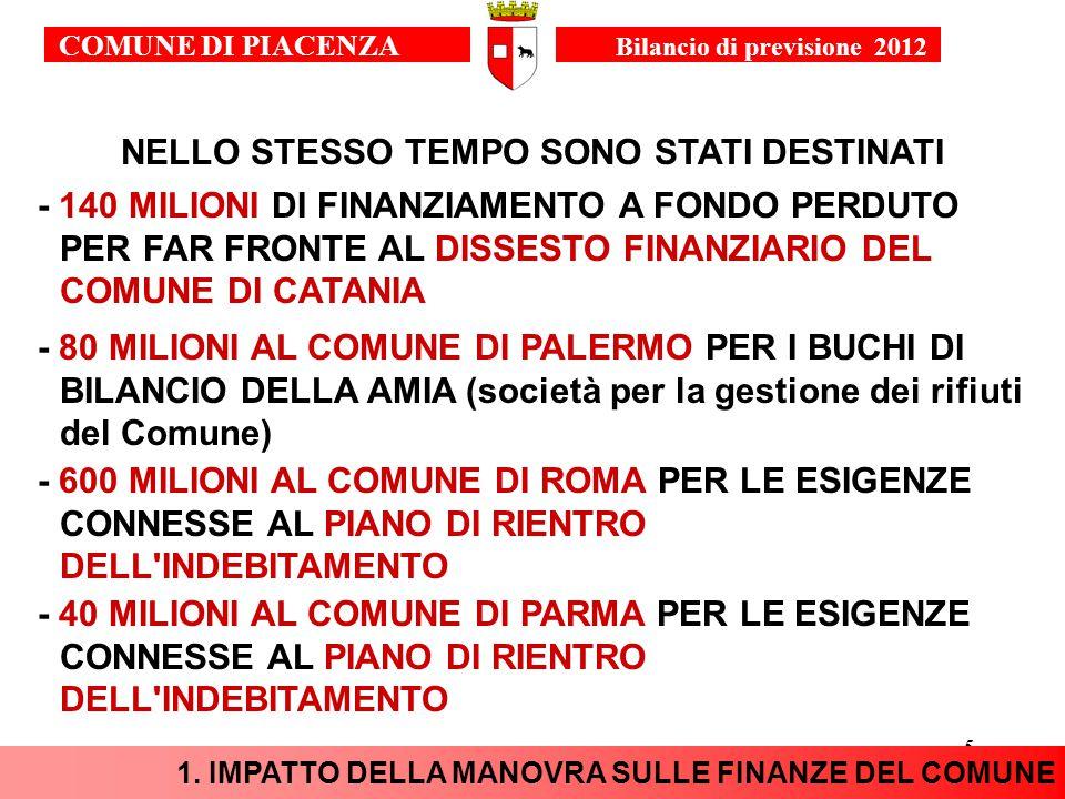 5 NELLO STESSO TEMPO SONO STATI DESTINATI - 140 MILIONI DI FINANZIAMENTO A FONDO PERDUTO PER FAR FRONTE AL DISSESTO FINANZIARIO DEL COMUNE DI CATANIA - 600 MILIONI AL COMUNE DI ROMA PER LE ESIGENZE CONNESSE AL PIANO DI RIENTRO DELL INDEBITAMENTO - 80 MILIONI AL COMUNE DI PALERMO PER I BUCHI DI BILANCIO DELLA AMIA (società per la gestione dei rifiuti del Comune) 1.