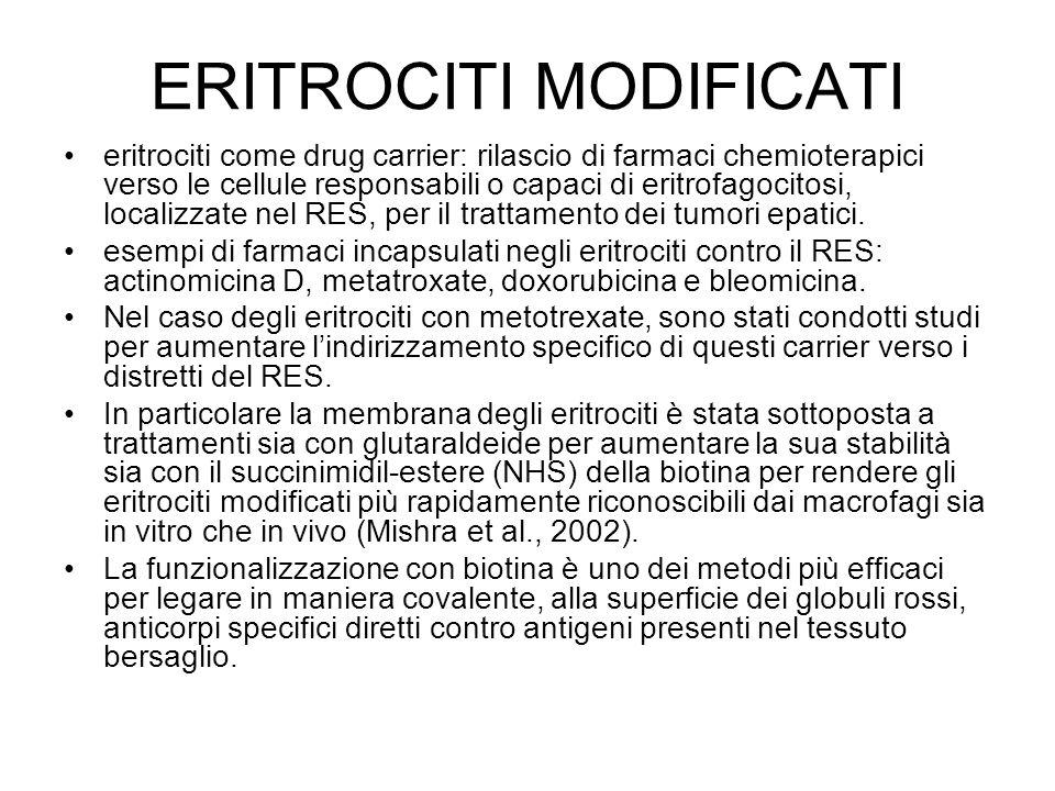 ERITROCITI MODIFICATI eritrociti come drug carrier: rilascio di farmaci chemioterapici verso le cellule responsabili o capaci di eritrofagocitosi, loc