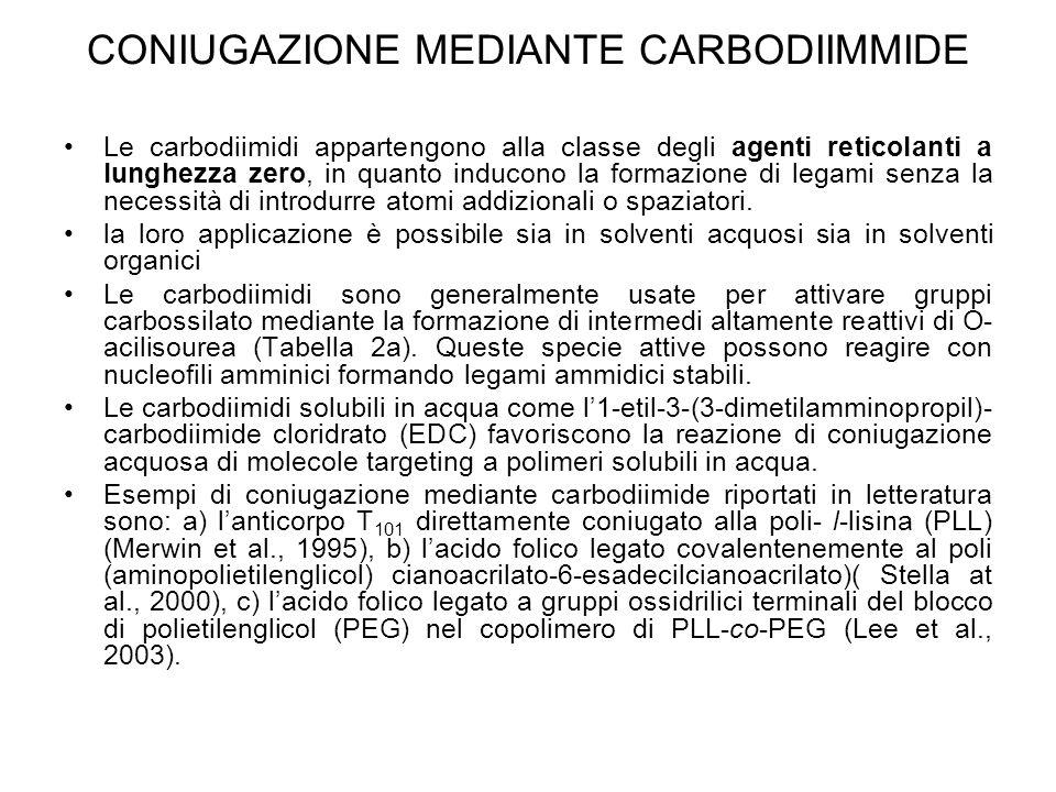 CONIUGAZIONE MEDIANTE CARBODIIMMIDE Le carbodiimidi appartengono alla classe degli agenti reticolanti a lunghezza zero, in quanto inducono la formazio