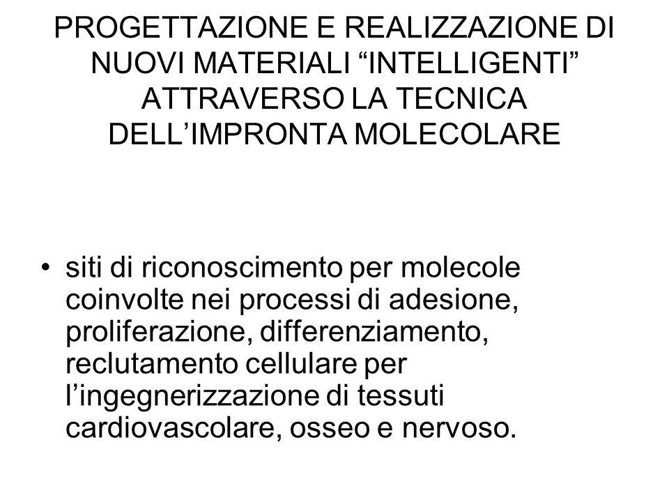 """PROGETTAZIONE E REALIZZAZIONE DI NUOVI MATERIALI """"INTELLIGENTI"""" ATTRAVERSO LA TECNICA DELL'IMPRONTA MOLECOLARE siti di riconoscimento per molecole coi"""