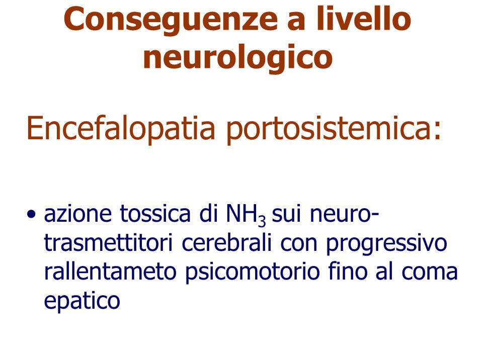 Conseguenze a livello neurologico Encefalopatia portosistemica: azione tossica di NH 3 sui neuro- trasmettitori cerebrali con progressivo rallentameto