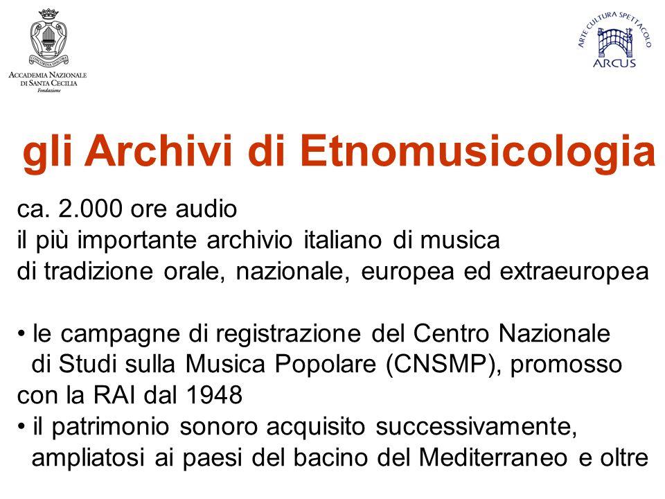 gli Archivi di Etnomusicologia ca.