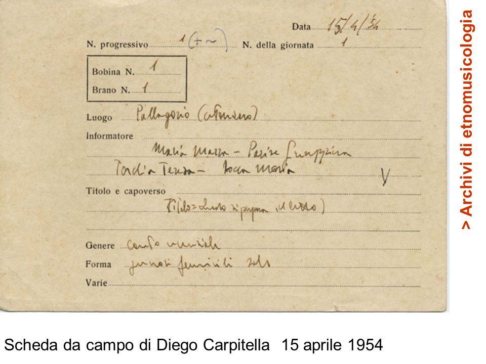 Scheda da campo di Diego Carpitella 15 aprile 1954