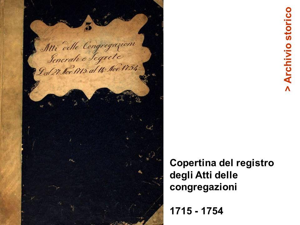> Archivio storico Copertina del registro degli Atti delle congregazioni 1715 - 1754