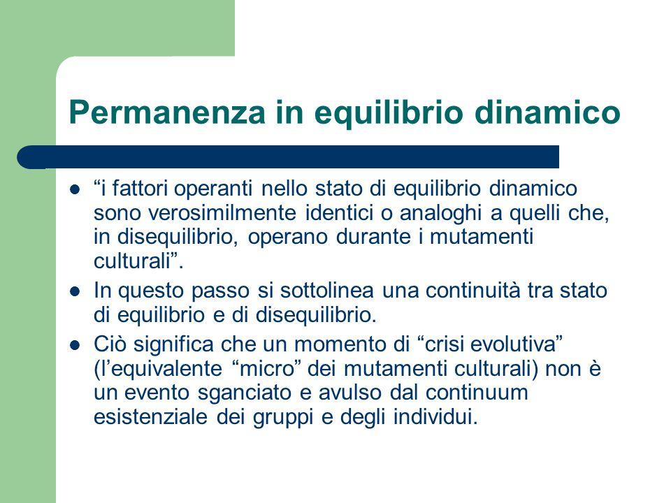 """Permanenza in equilibrio dinamico """"i fattori operanti nello stato di equilibrio dinamico sono verosimilmente identici o analoghi a quelli che, in dise"""