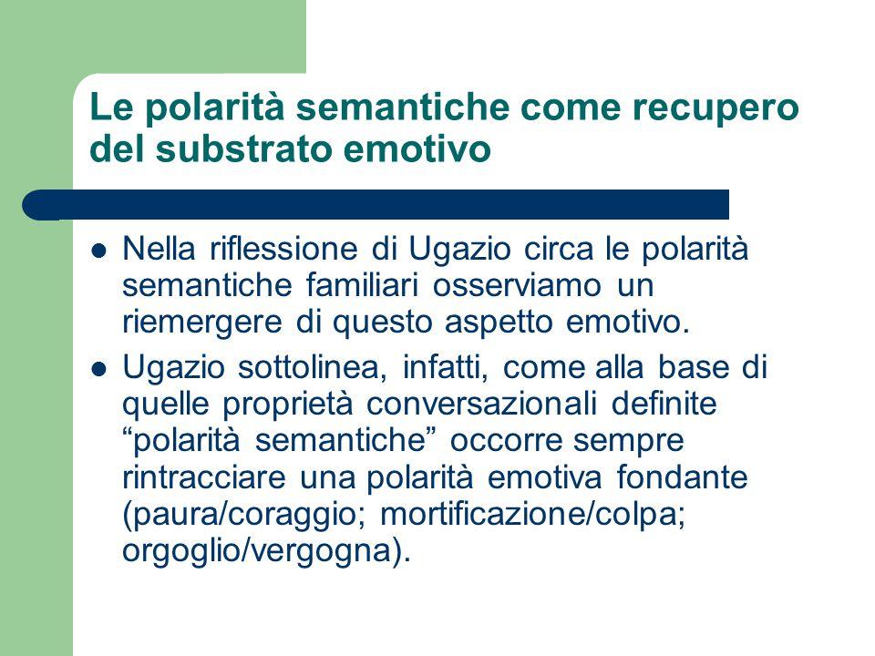 Le polarità semantiche come recupero del substrato emotivo Nella riflessione di Ugazio circa le polarità semantiche familiari osserviamo un riemergere