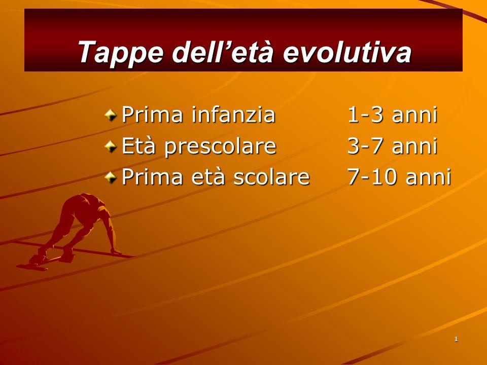 1 Tappe dell'età evolutiva Prima infanzia1-3 anni Età prescolare3-7 anni Prima età scolare 7-10 anni