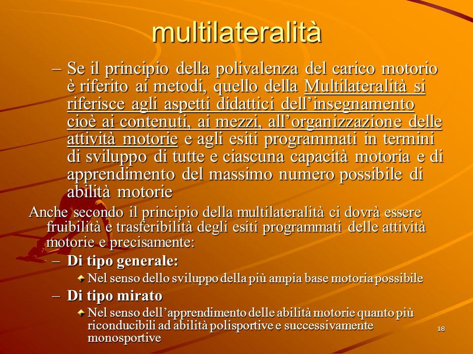 18 multilateralità –Se il principio della polivalenza del carico motorio è riferito ai metodi, quello della Multilateralità si riferisce agli aspetti