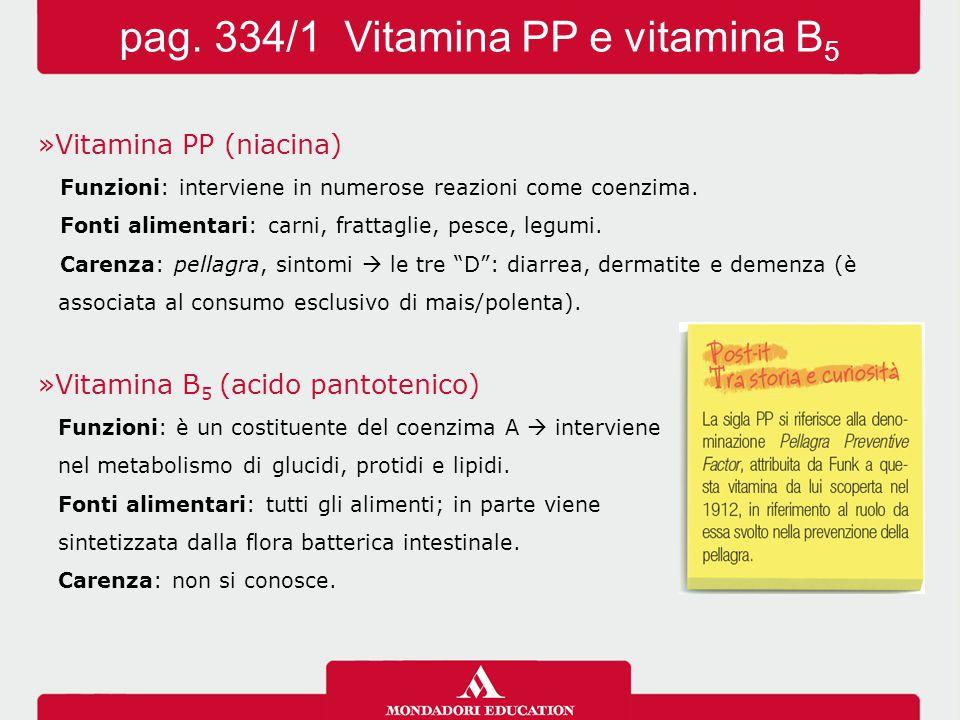 »Vitamina PP (niacina) Funzioni: interviene in numerose reazioni come coenzima.