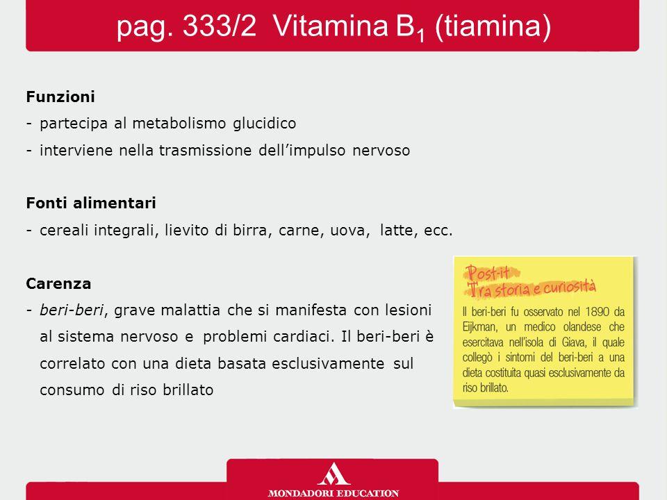 Funzioni -partecipa al metabolismo glucidico -interviene nella trasmissione dell'impulsonervoso Fonti alimentari -cereali integrali, lievito di birra, carne, uova, latte, ecc.