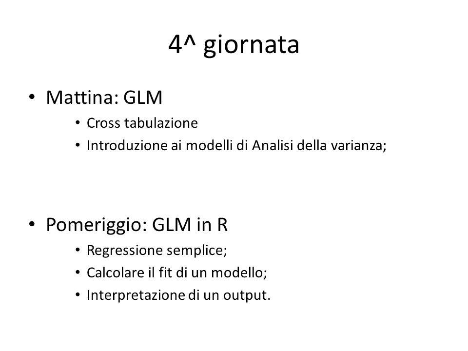 5^ giornata Mattina: Regressione multipla in R Interpretazione di un output Pomeriggio: Modelli misti in R Effetti random Reference level