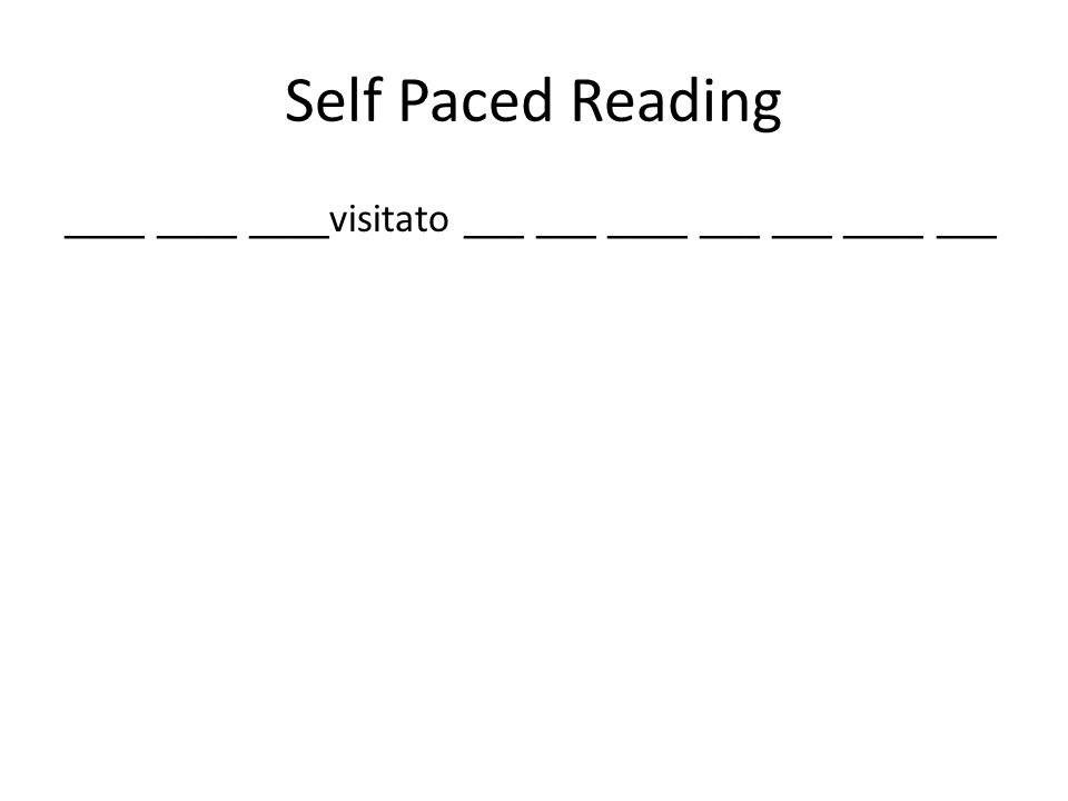 Self Paced Reading ____ ____ ____visitato ___ ___ ____ ___ ___ ____ ___