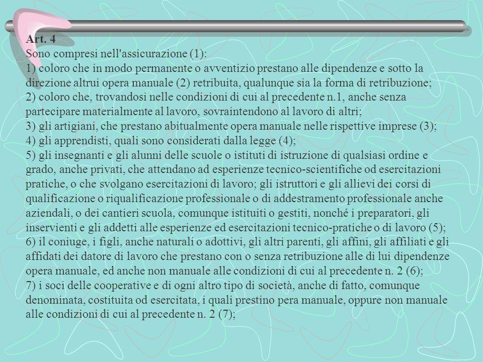 Art. 4 Sono compresi nell'assicurazione (1): 1) coloro che in modo permanente o avventizio prestano alle dipendenze e sotto la direzione altrui opera