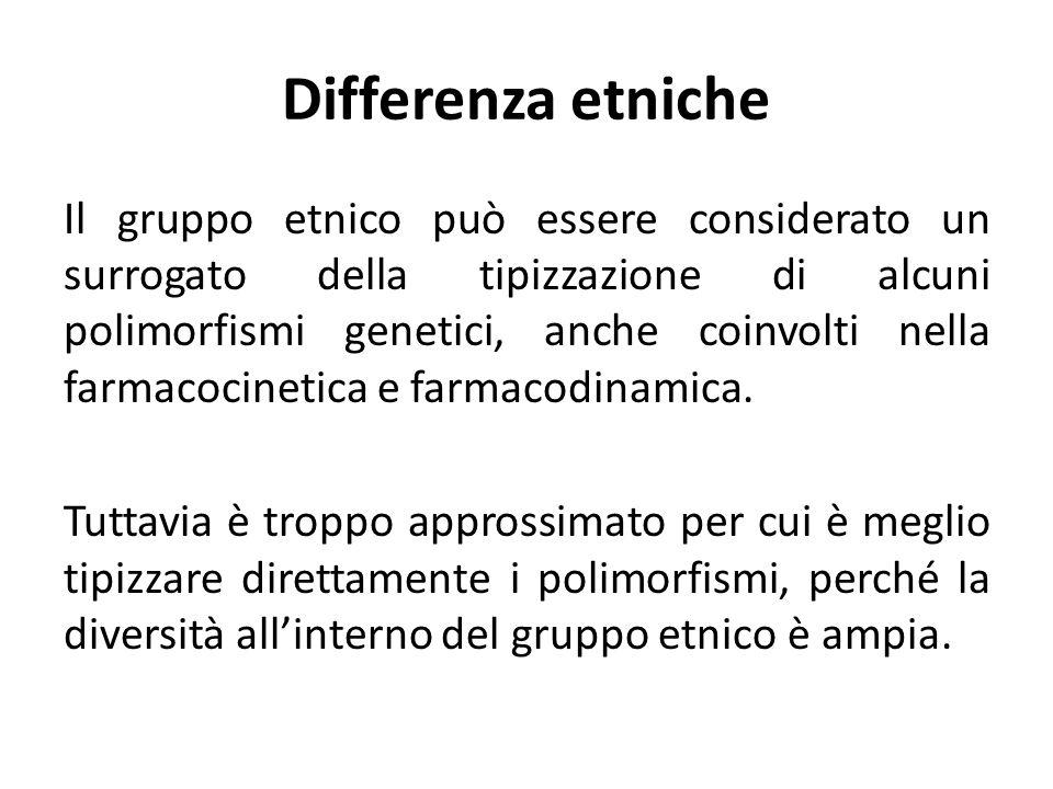 Differenza etniche Il gruppo etnico può essere considerato un surrogato della tipizzazione di alcuni polimorfismi genetici, anche coinvolti nella farm