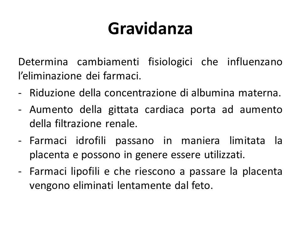Gravidanza Determina cambiamenti fisiologici che influenzano l'eliminazione dei farmaci. -Riduzione della concentrazione di albumina materna. -Aumento