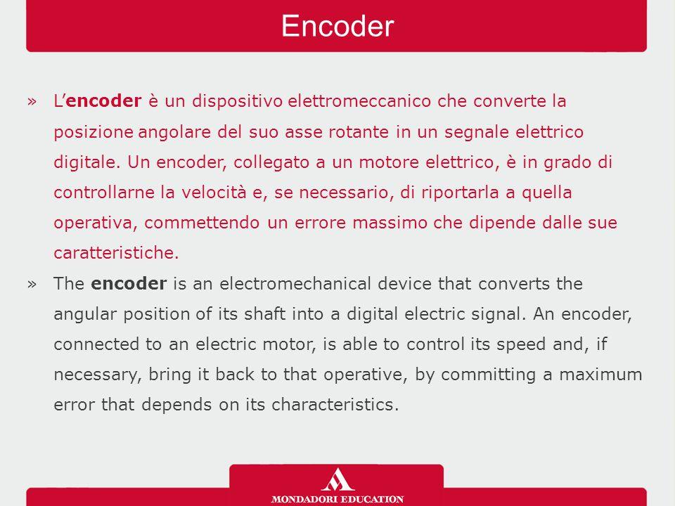 »L'encoder è un dispositivo elettromeccanico che converte la posizione angolare del suo asse rotante in un segnale elettrico digitale. Un encoder, col
