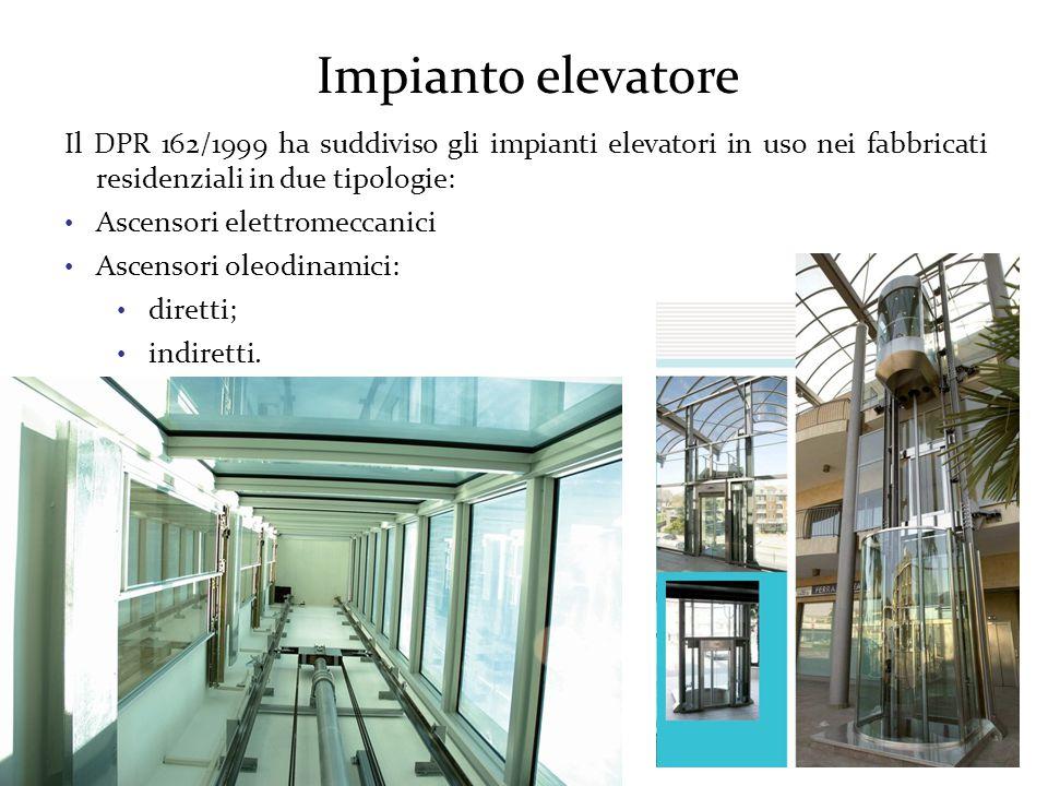 Impianto elevatore Il DPR 162/1999 ha suddiviso gli impianti elevatori in uso nei fabbricati residenziali in due tipologie: Ascensori elettromeccanici Ascensori oleodinamici: diretti; indiretti.