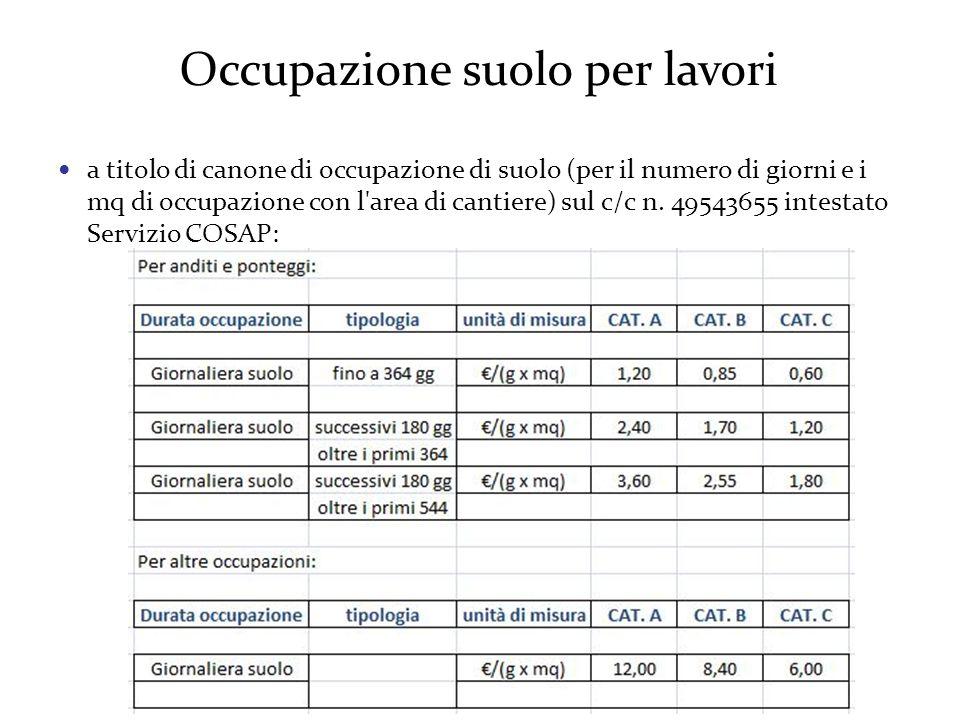 Occupazione suolo per lavori a titolo di canone di occupazione di suolo (per il numero di giorni e i mq di occupazione con l area di cantiere) sul c/c n.