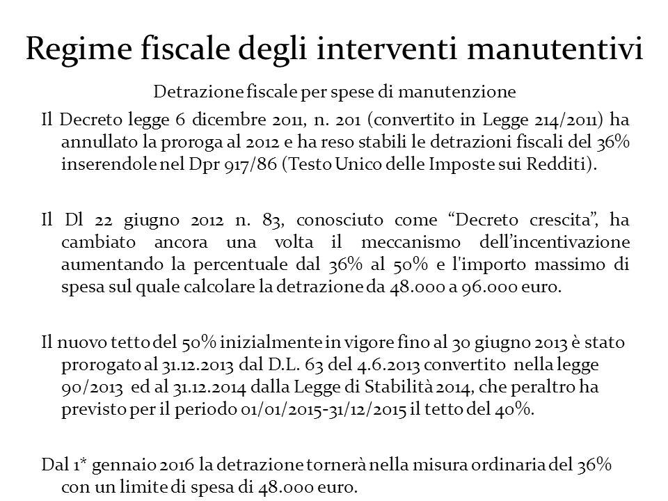 Regime fiscale degli interventi manutentivi Detrazione fiscale per spese di manutenzione Il Decreto legge 6 dicembre 2011, n.