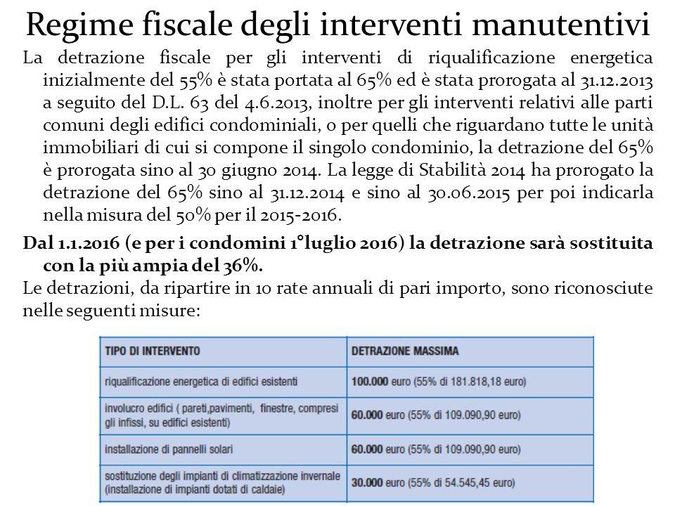 Regime fiscale degli interventi manutentivi La detrazione fiscale per gli interventi di riqualificazione energetica inizialmente del 55% è stata portata al 65% ed è stata prorogata al 31.12.2013 a seguito del D.L.