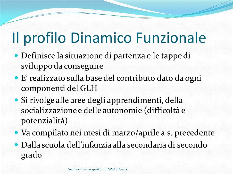 Il profilo Dinamico Funzionale Definisce la situazione di partenza e le tappe di sviluppo da conseguire E' realizzato sulla base del contributo dato d