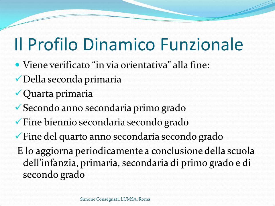 """Il Profilo Dinamico Funzionale Viene verificato """"in via orientativa"""" alla fine: Della seconda primaria Quarta primaria Secondo anno secondaria primo g"""