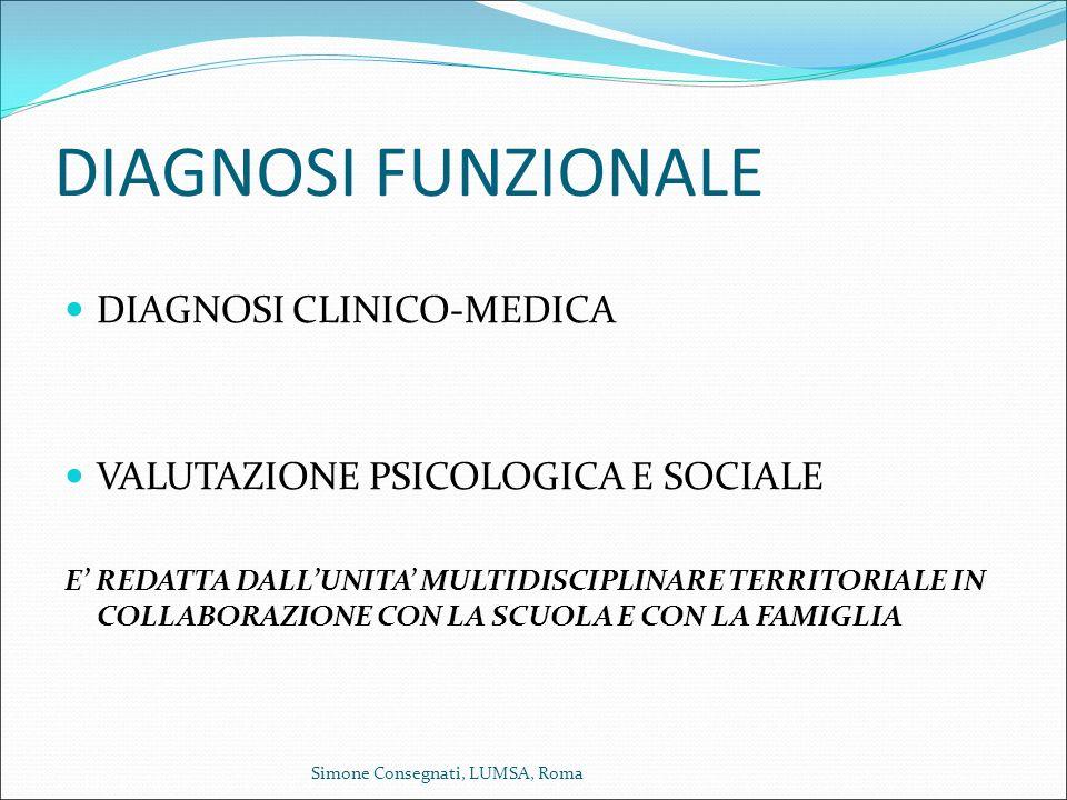 DIAGNOSI FUNZIONALE DIAGNOSI CLINICO-MEDICA VALUTAZIONE PSICOLOGICA E SOCIALE E' REDATTA DALL'UNITA' MULTIDISCIPLINARE TERRITORIALE IN COLLABORAZIONE