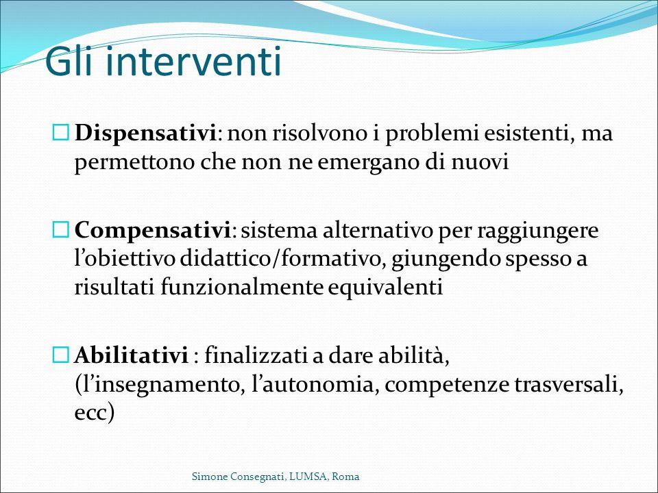 Gli interventi  Dispensativi: non risolvono i problemi esistenti, ma permettono che non ne emergano di nuovi  Compensativi: sistema alternativo per
